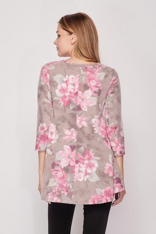 Charcoal Rose Hacci 3/4 Sleeve