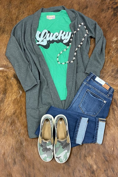 Charcoal Grey Cardigan with Pockets
