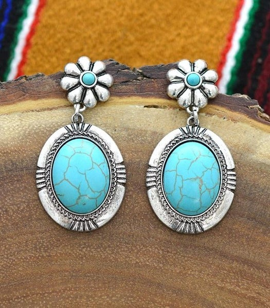 Silver Concho Stone Earrings *2 Colors*
