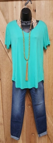 Crazy Train Turquoise Butter Basic Top