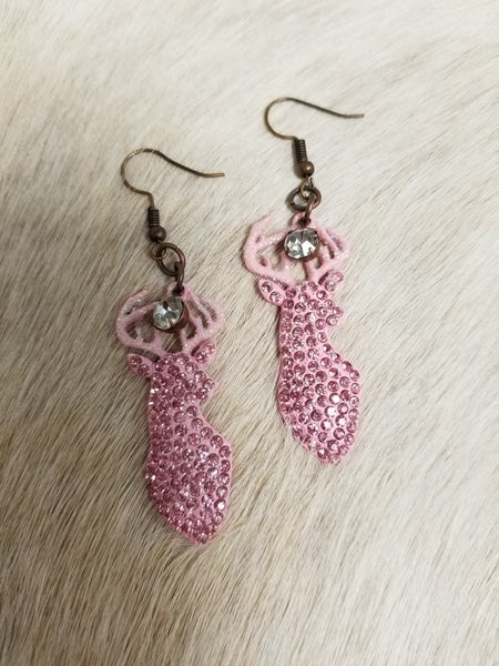 Pink Deer Earrings
