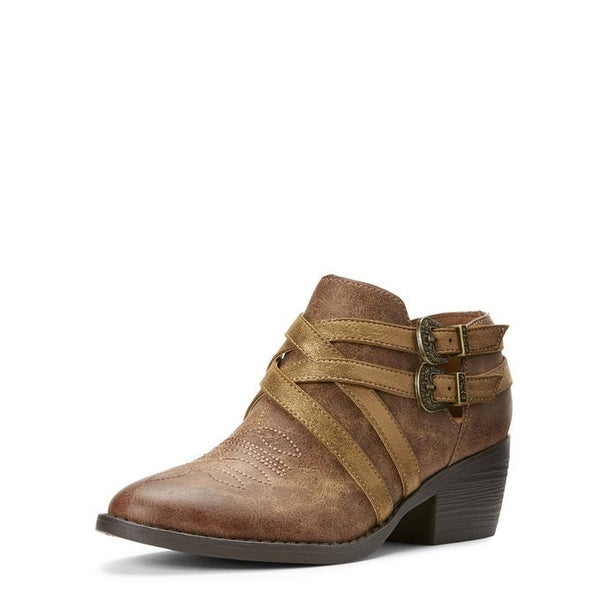 Ariat Womens Unbridled Sadie Tan/Gold Suede Bootie