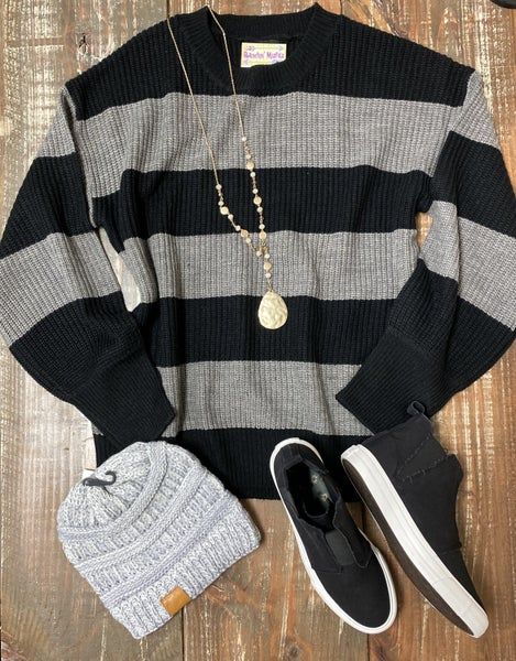 Heather Grey & Black Sweater