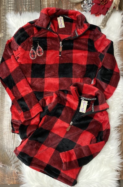 1/4 Zip Buffalo Plaid