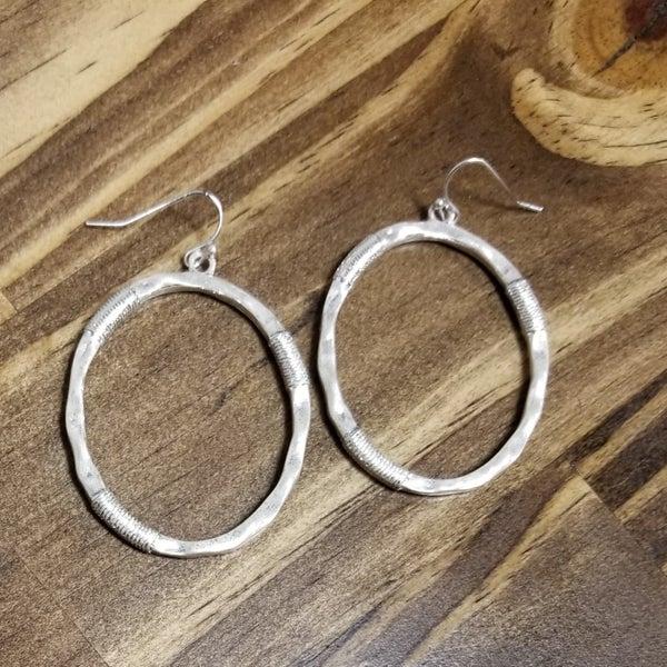 Gloria Oval Matte Silver Earrings