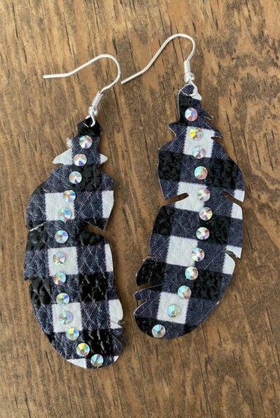 White & Black Plaid Earrings