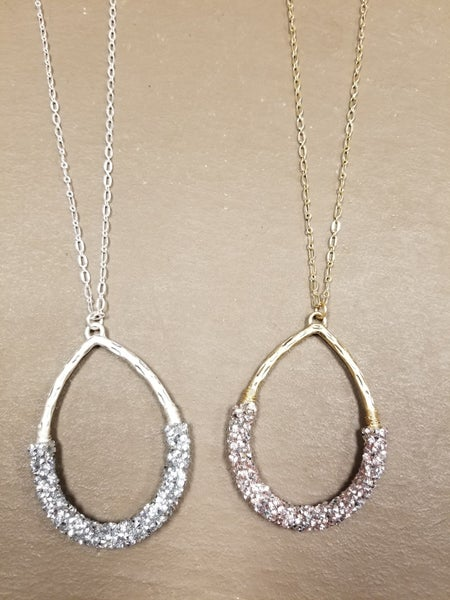 Glitz & Glam Teardrop Pendant Necklace