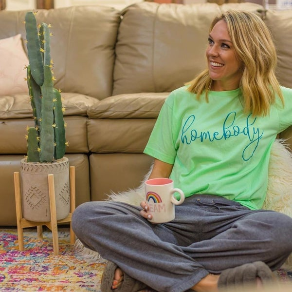 Homebody Lime & Turquoise Tee