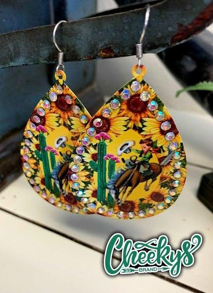 Buckin' Cowboy Sunflower Bling Earrings