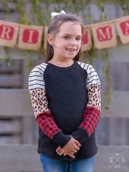 GIRLS It's a Vibe Waffle Knit Buffalo Plaid & Leopard
