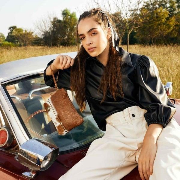Blossomy Affair Leather & Hair On Bag