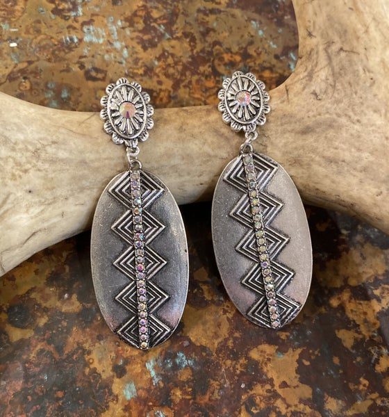 Guymon Vintage Silver Earrings With AB Crystals