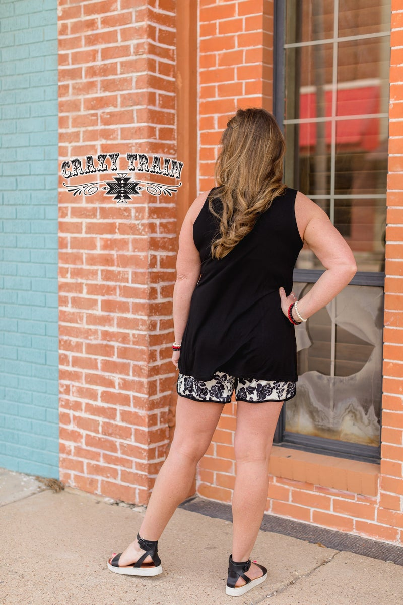 Crazy Train Go With The Flow Black Tank