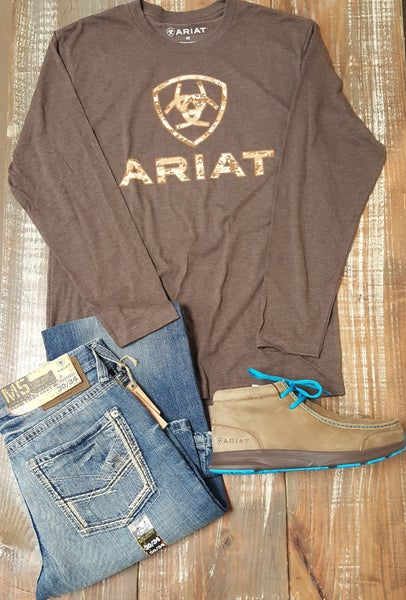 Ariat Men's Digi Camo Brown Heather Longsleeve Tee