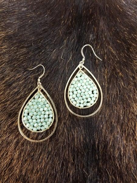 Gold & Mint Teardrop Earrings