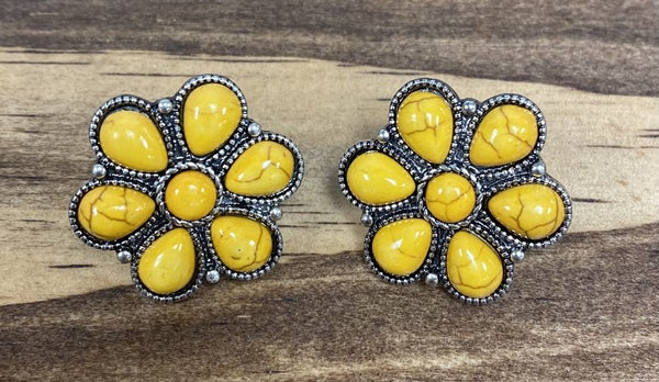 Cheeky's Mustard Stone Flower Earrings