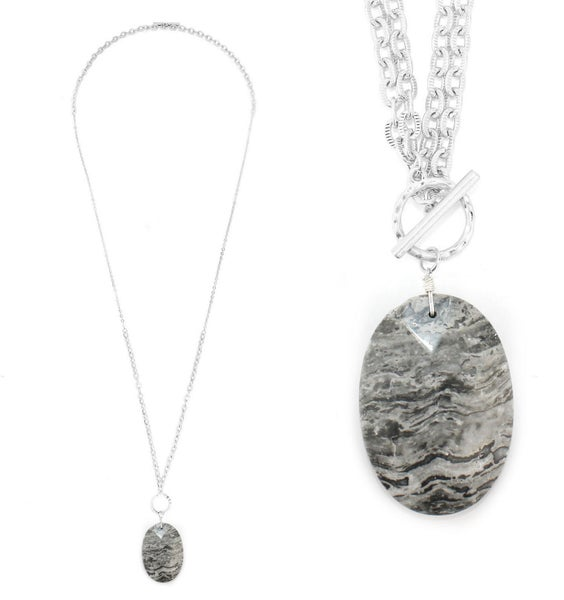 Silver & Grey Marble Pendant Necklace