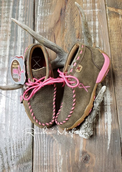 Twisted X Bomber/Neon Pink Kid's Driving Mocs