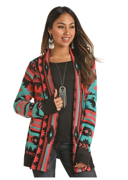 RRCG Teal Black and Pink Southwest Cardigan