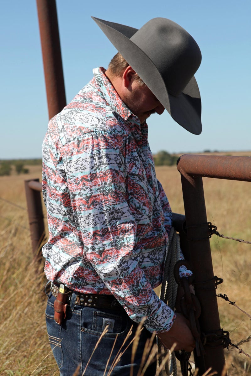 Panhandle Men's Retro Long Sleeve Snap
