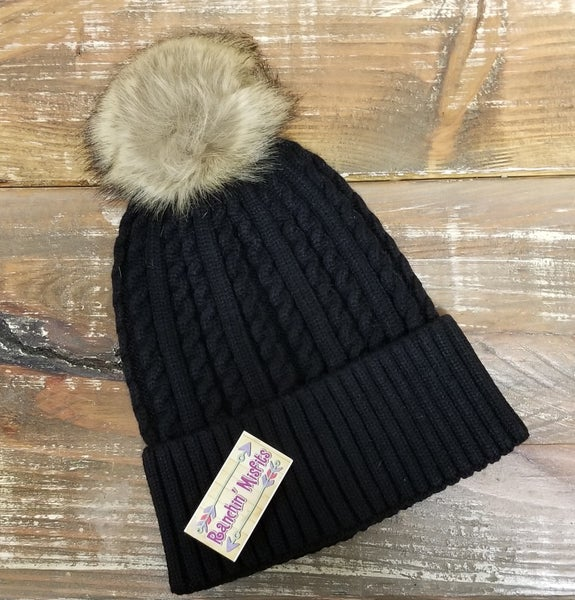 Fox Fur Black Pom Beanie