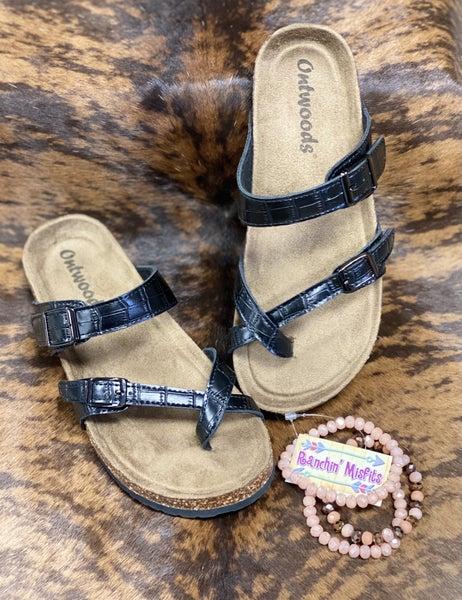 Kickin' Back Black Toe Sandals