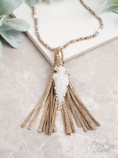 To the Point Tassel Necklace, Gold with Arrowhead