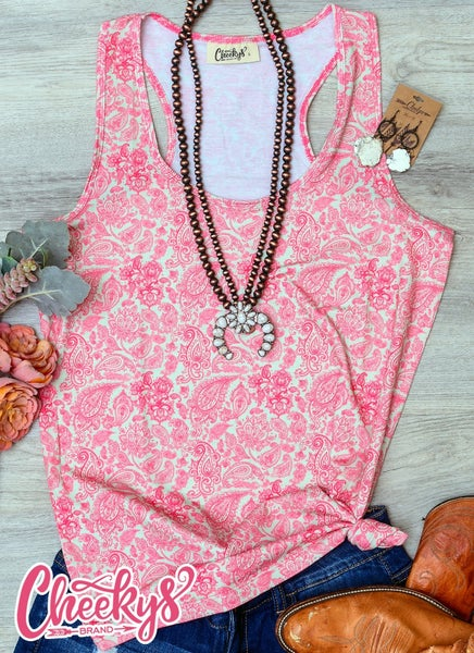 Cheeky's Madelyn Paisley Tank In Peaches and Cream