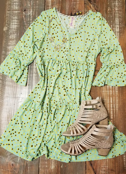 Spring Mint & Yellow Print Dress