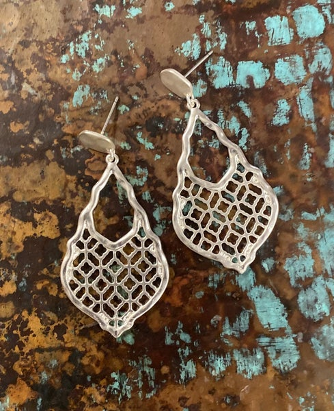 Lacy Brushed Silver Earrings