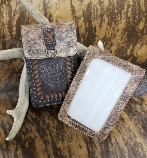MW Coffee Sitched Crossbody Cell Phone