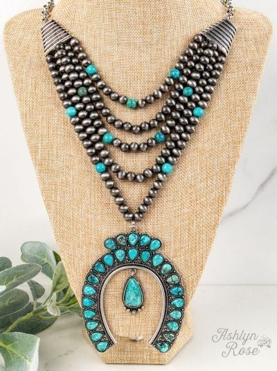 Amarillo by Morning Layered Turquoise Squash Blossom Necklace