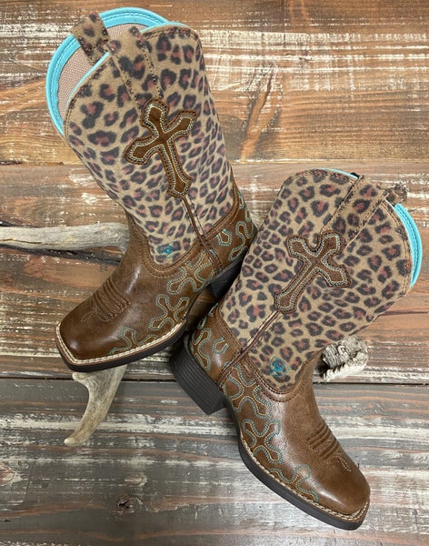 Ariat Girls Quickdraw Leopard Crossroads Boots