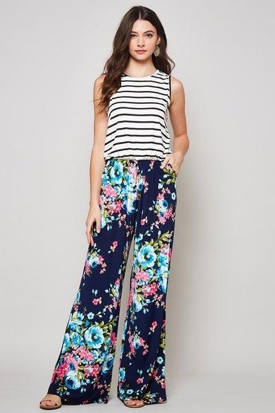Navy Stripe & Floral Jumpsuit