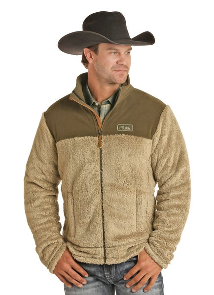 Powder River Men's Olive Two Tone Fleece Zip