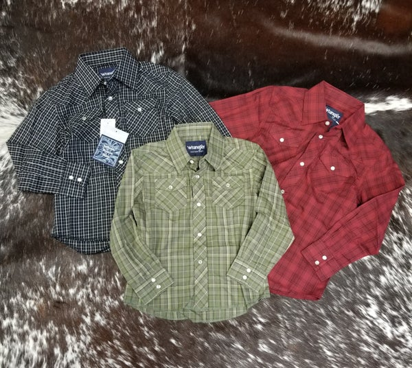 Wrangler BOYS Assorted Plaid Western Snap Shirt