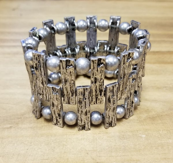 Vintage Silver Bar Stretch Bracelet