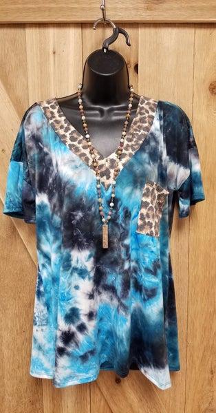 Tie Dye Teal & Leopard CURVY