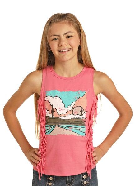 GIRLS RRCG Pink Desert Fringe Top