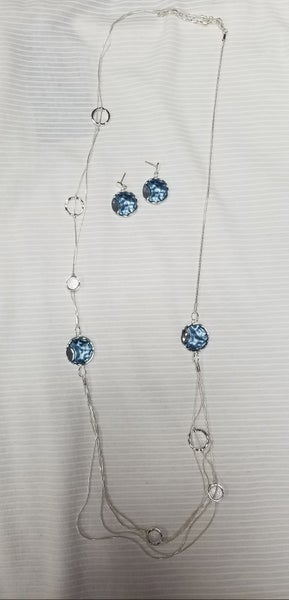 Iridescent Blue Disk Two Row Necklace & Earring Set