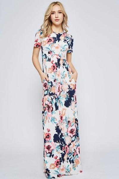 Emma Ivory Floral Maxi Dress