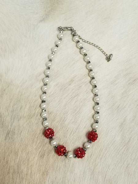 Girls Red and White Necklace