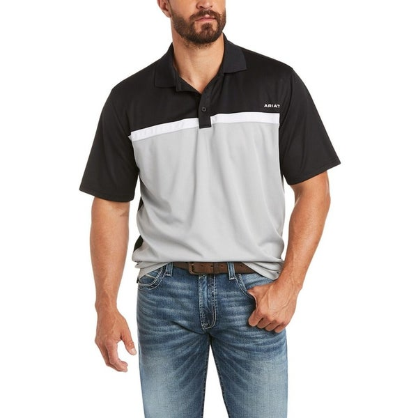 Ariat Men's Colorblock SS  Black Polo