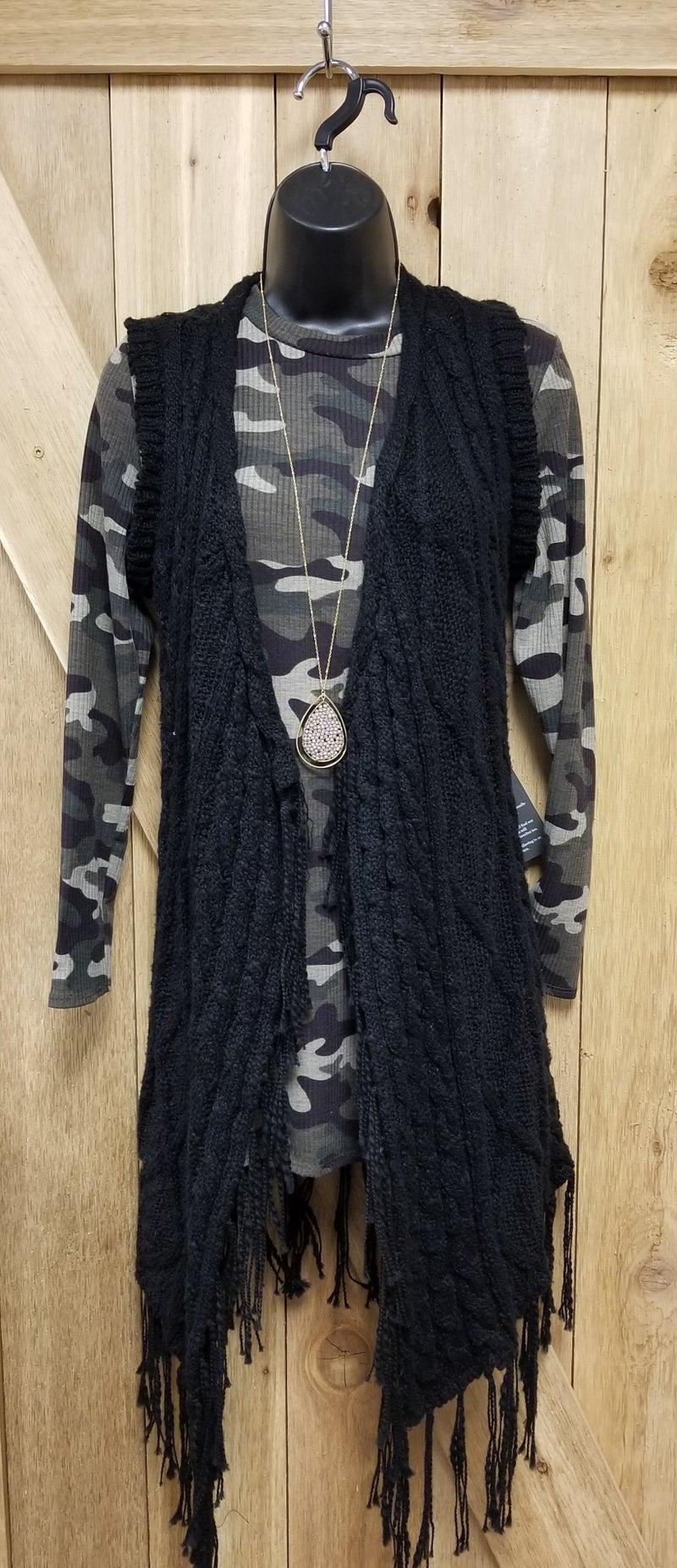 Powder River Black Knit Long Vest
