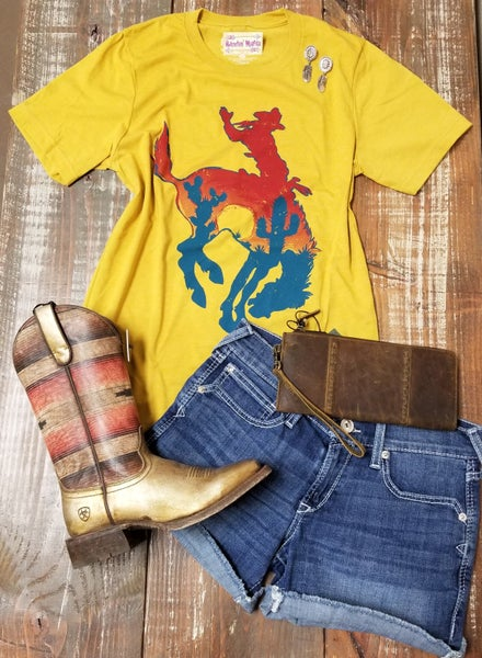 Bowie Bronc on Mustard Tee