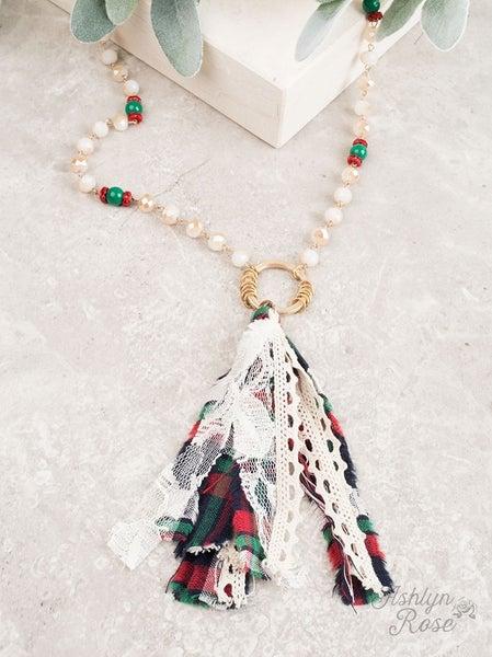 Season's Greetings Christmas Flannel Tassel Necklace