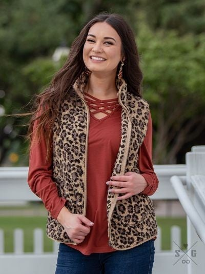 The Teddy Leopard Vest with Pockets