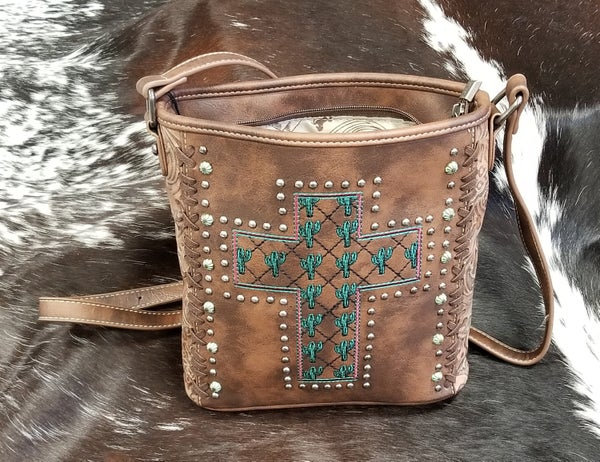 Montana West Embroidered Collection Concealed Carry Crossbody- Cross Cactus -Brown