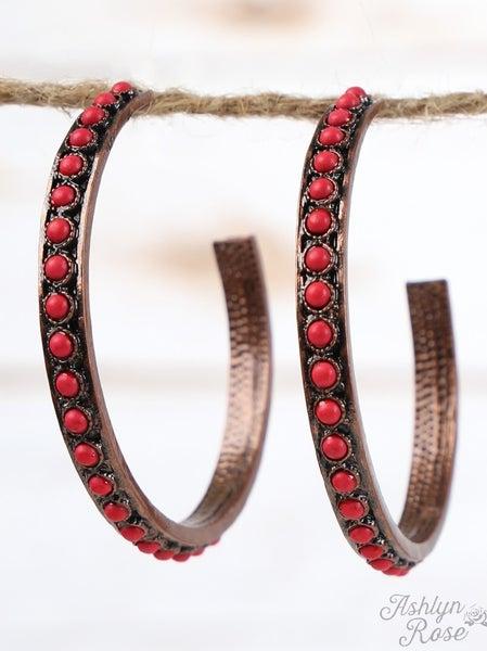 Red Stone Beaded Hoop Copper Earrings