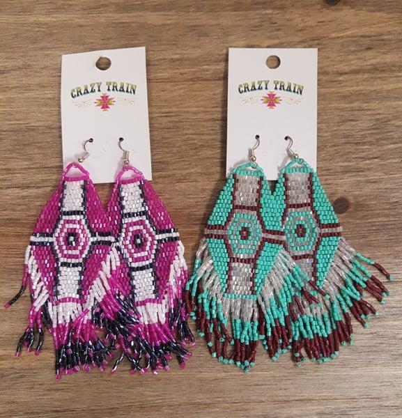 Crazy Train Tribal Beaded Earrings